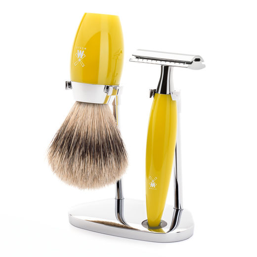 Mühle S 091 DE razor, silvertip badger shaving brush and stand