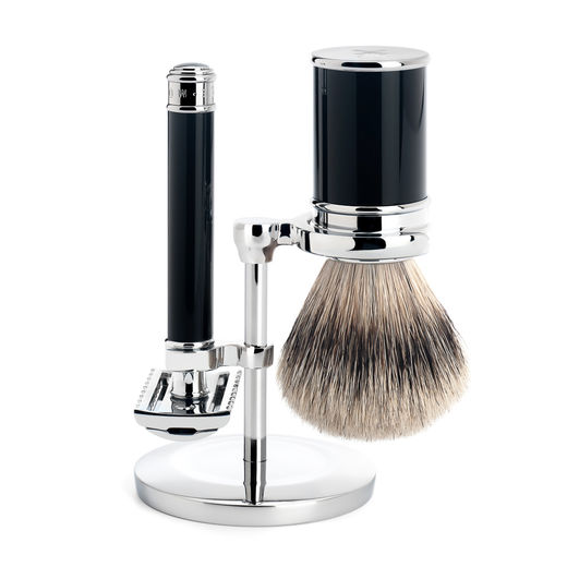 Mühle R 101 DE razor, silvertip badger shaving brush and stand