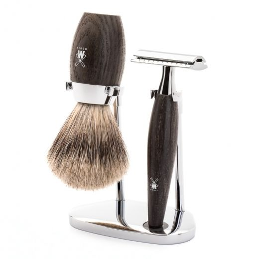 Mühle H 873 SR bog oak DE razor, fine badger shaving brush and stand