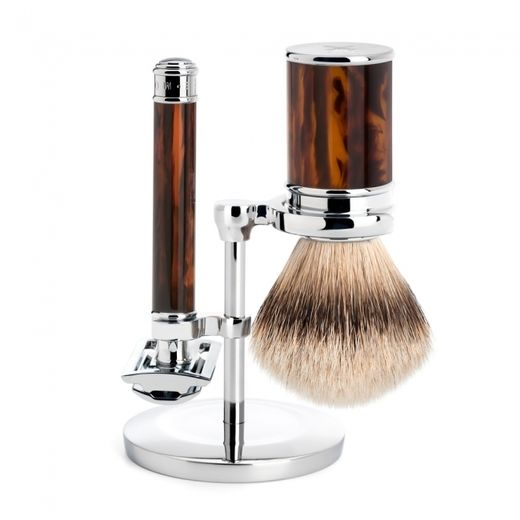 Mühle R 108 DE razor, silvertip badger shaving brush and stand