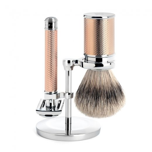 Mühle R 41 RG DE razor, silvertip badger shaving brush and stand