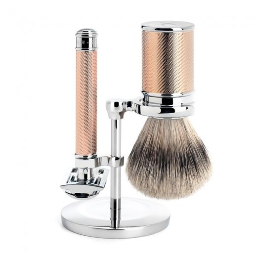 Mühle R 89 RG DE razor, silvertip badger shaving brush and stand