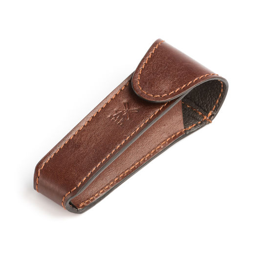 Mühle leather holder for DE razor, brown
