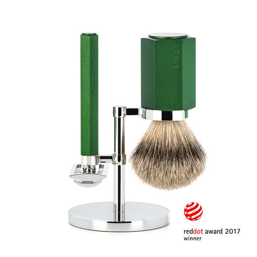 Mühle HEXAGON S 091 DE razor, M HXG silvertip badger shaving brush and stand