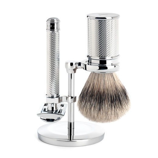 ​Mühle R 89 SR DE razor, silvertip badger shaving brush and stand